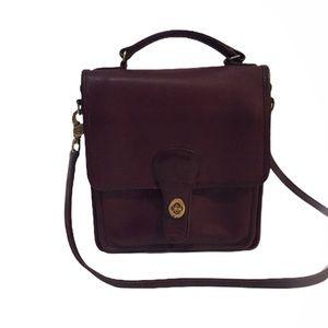 Vintage Coach Courier Saddle Shoulder Bag, Maroon